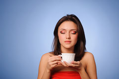 Woman hold hot cup stock photo