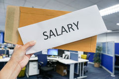 Woman hold icon of salary in hand Royalty Free Stock Photography