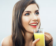 Woman hold juice glass Royalty Free Stock Images