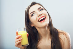 Woman hold juice glass Stock Photography