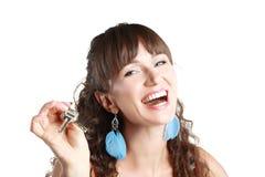 Woman hold keys Stock Photo