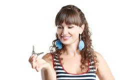 Woman hold keys Royalty Free Stock Photo