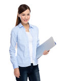 Woman hold with laptop computer Royalty Free Stock Photos