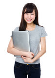 Woman hold with laptop computer Stock Photography