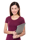 Woman hold with laptop conputer Stock Photos