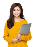 Woman hold with laptop Royalty Free Stock Photos