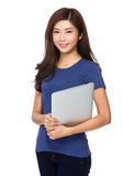 Woman hold with laptop Stock Photo