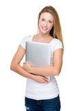 Woman hold with laptop Royalty Free Stock Image