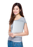 Woman hold with laptop Stock Photography