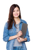 Woman hold with laptop Stock Photos