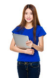 Woman hold with laptop Stock Images