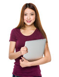 Woman hold with laptop Royalty Free Stock Images