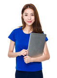 Woman hold with laptop Royalty Free Stock Photo