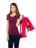 Woman hold with lots of shopping bag Royalty Free Stock Photo