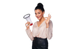 Woman hold loudspeaker Stock Images