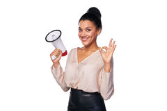 Woman hold loudspeaker Royalty Free Stock Photos