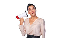 Woman hold loudspeaker Stock Photos