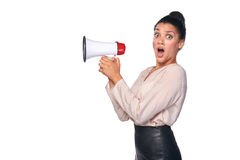 Woman hold loudspeaker Royalty Free Stock Photography