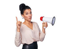 Woman hold loudspeaker Royalty Free Stock Image