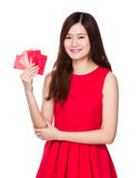 Woman hold with lucky money Stock Photos