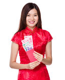 Woman hold lucky money with RMB Stock Image