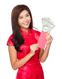 Woman hold with lucky money with USD Stock Images
