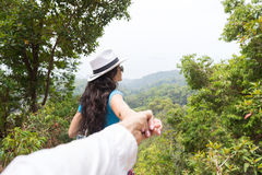 Woman Hold Man Hand Over Beautiful Mountain Landscape Back Rear View, Young Couple Tourist Royalty Free Stock Photography