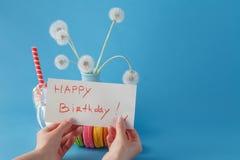 Woman hold message happy birthday Stock Photo