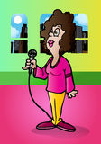 Woman hold mic Stock Images
