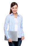 Woman hold with notebook computer Royalty Free Stock Photos