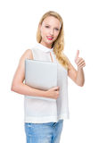 Woman hold notebook with thumb up Stock Image