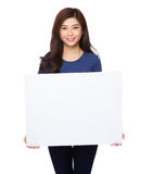 Woman hold with palcard Stock Photos