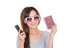 Woman hold passport Royalty Free Stock Images