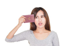 Woman hold passport Royalty Free Stock Image
