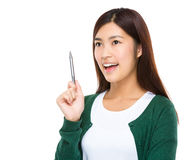 Woman hold with pen Royalty Free Stock Photography