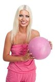 Woman hold pink basketball ball Stock Images
