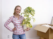 Woman hold plant Royalty Free Stock Photos