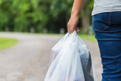 Holding Plastic Bags stock images