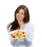 Woman hold plate of diet Italian Shrimp spaghetti vongole pasta Stock Images