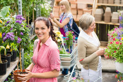Woman hold potted plant at garden shop Stock Image