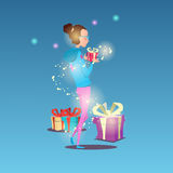Woman Hold Present Box Greeting Card Happy New Year Merry Christmas Banner Royalty Free Stock Images