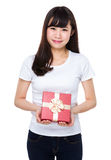 Woman hold with present box Royalty Free Stock Photos