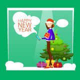 Woman Hold Present Box Messaging Online Cell Phone Merry Christmas And Happy New Year Royalty Free Stock Photos