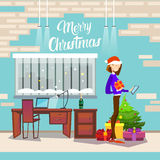 Woman Hold Present Box Messaging Online Cell Phone Merry Christmas And Happy New Year Royalty Free Stock Images