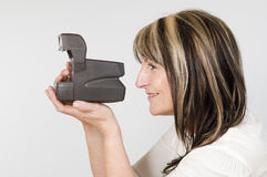 Woman hold quick camera royalty free stock image