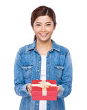 Woman hold with red gift box Royalty Free Stock Photo