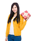 Woman hold with red gift box. Isolated on white background Stock Photos