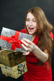 Woman hold red gift box. Stock Images