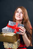 Woman hold red gift box. Stock Image