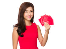 Woman hold with red pocket Royalty Free Stock Images